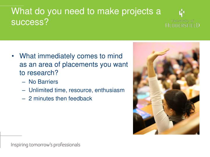 What do you need to make projects a success?