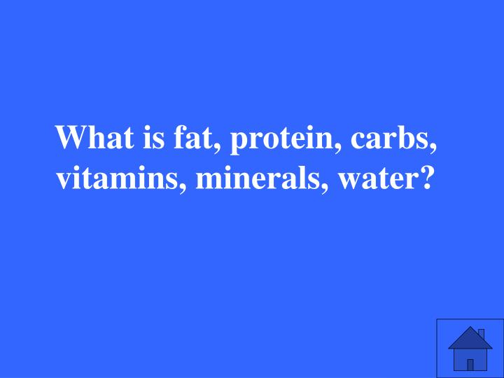What is fat, protein, carbs, vitamins, minerals, water?