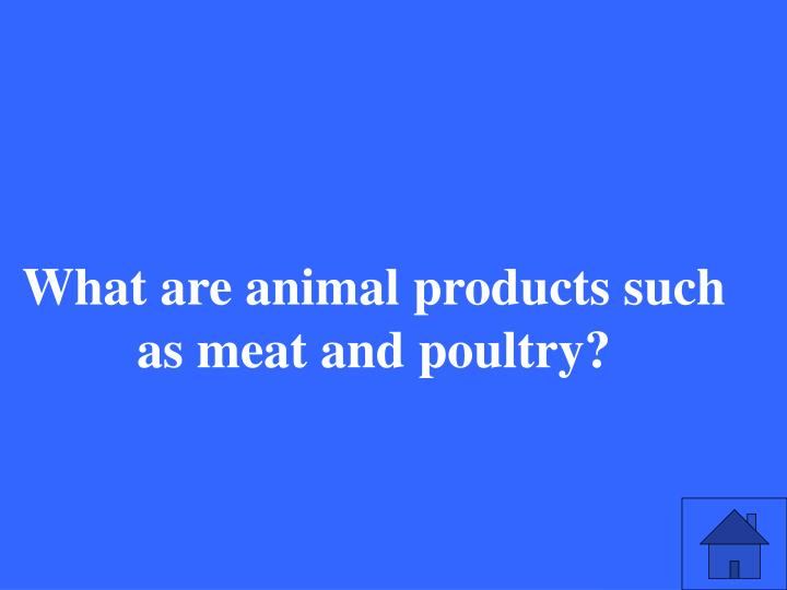What are animal products such as meat and poultry?