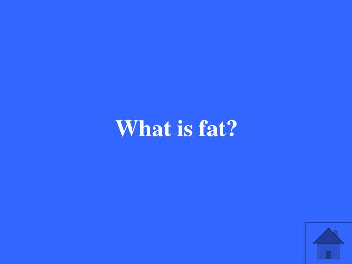 What is fat?