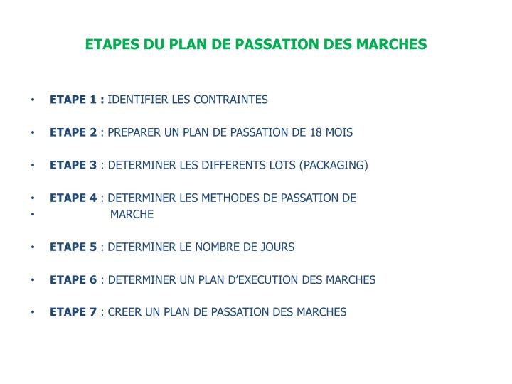 Etapes du plan de passation des marches