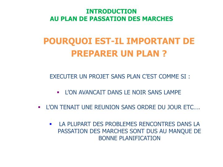 Introduction au plan de passation des marches