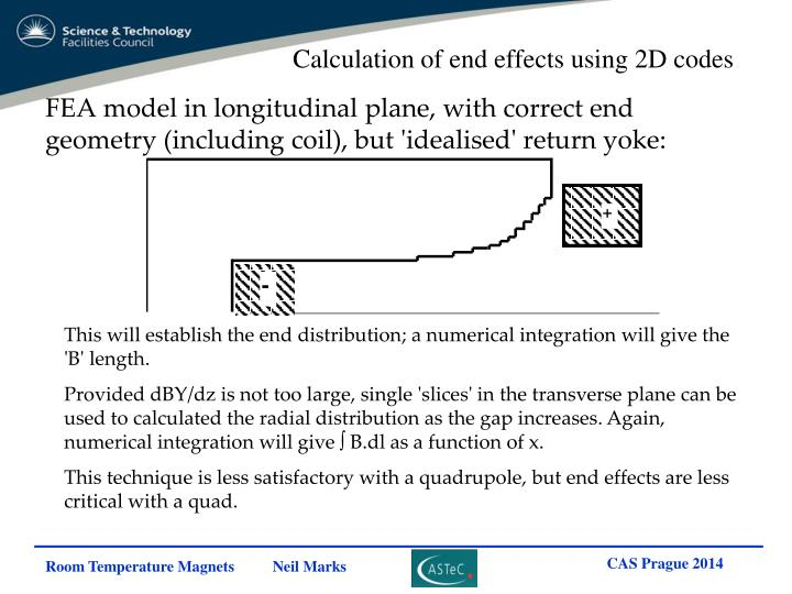 Calculation of end effects using 2D codes