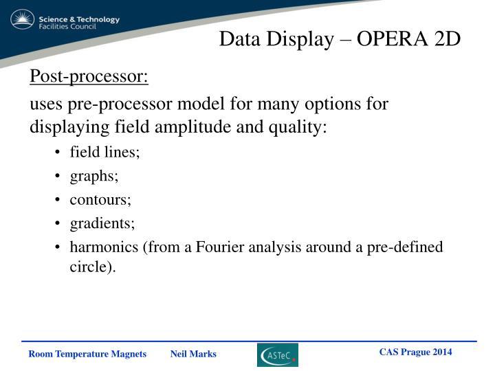 Data Display – OPERA 2D