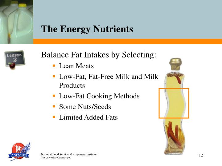 Balance Fat Intakes by Selecting:
