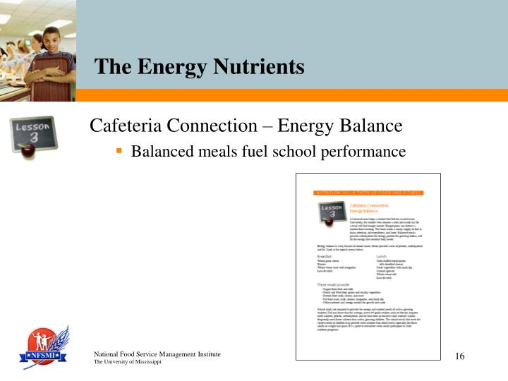 Cafeteria Connection – Energy Balance