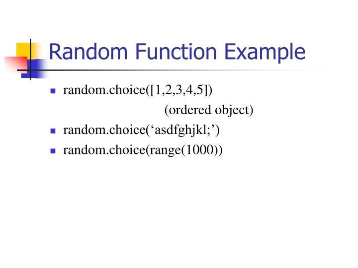 Random Function Example