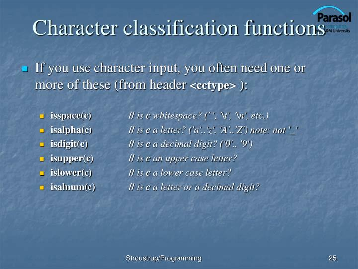 Character classification functions
