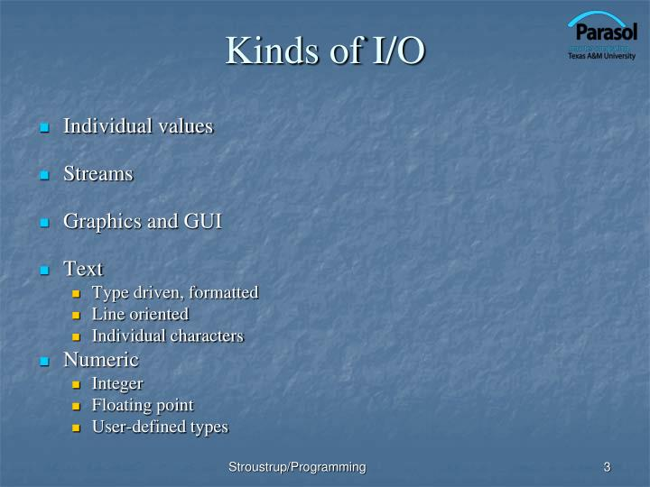 Kinds of i o