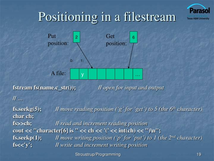 Positioning in a filestream