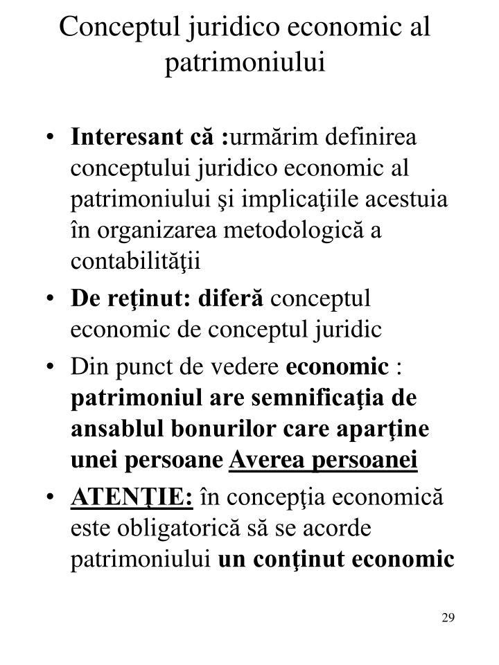 Conceptul juridico economic al patrimoniului