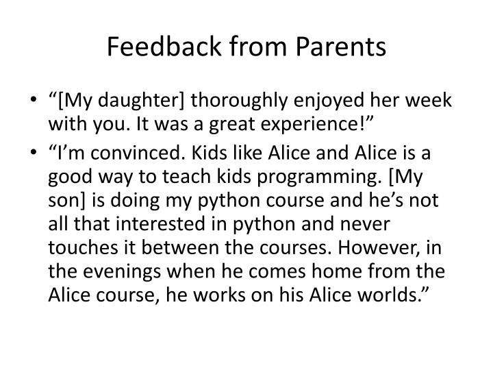 Feedback from Parents