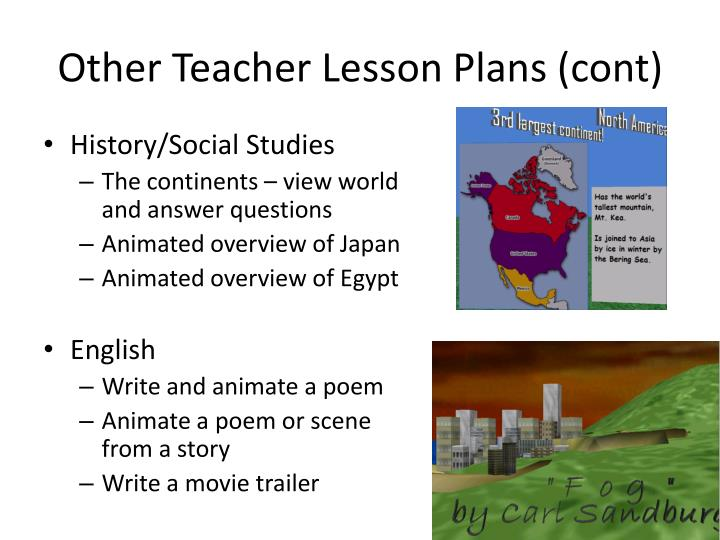 Other Teacher Lesson Plans (cont)