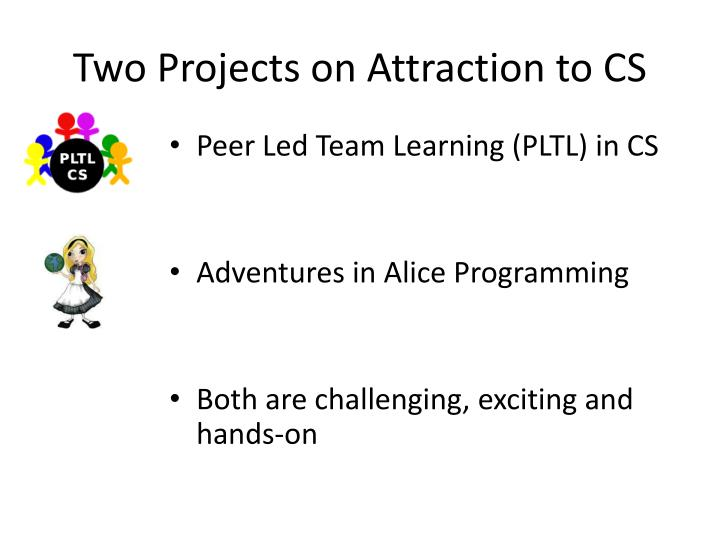 Two Projects on Attraction to CS