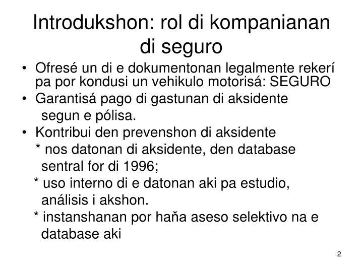 Introdukshon: rol di kompanianan di seguro