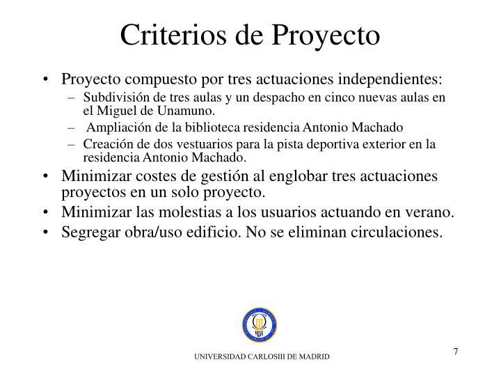 Criterios de Proyecto