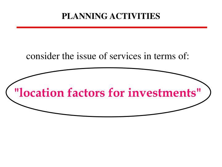 PLANNING ACTIVITIES