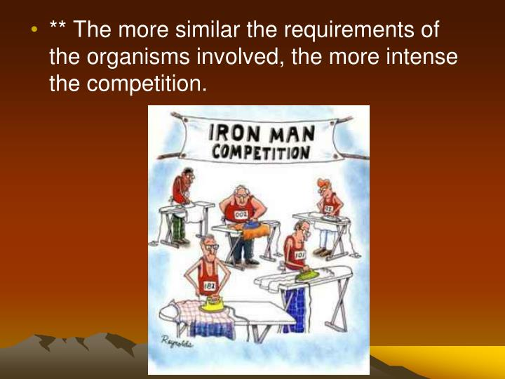 ** The more similar the requirements of the organisms involved, the more intense the competition.