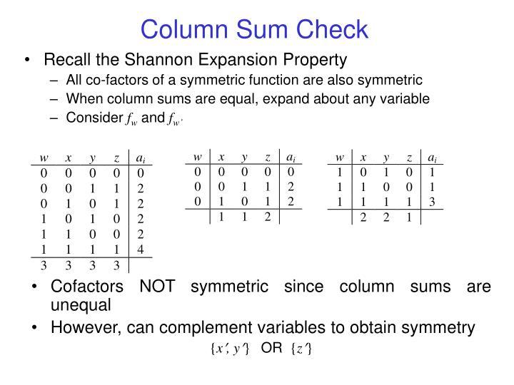 Column Sum Check