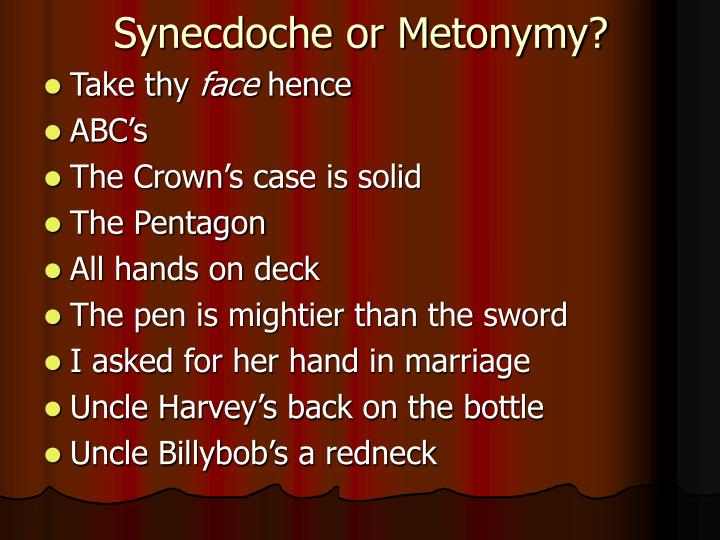 Synecdoche or Metonymy?