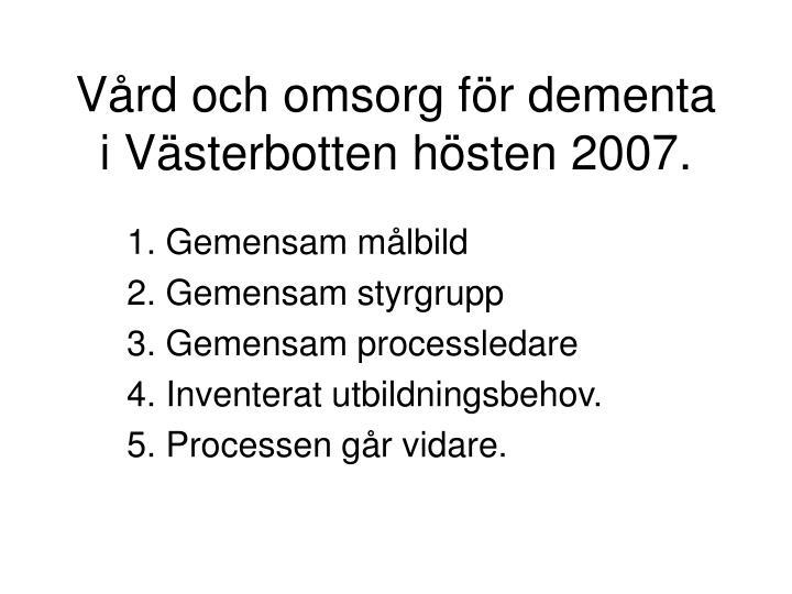Vård och omsorg för dementa i Västerbotten hösten 2007.