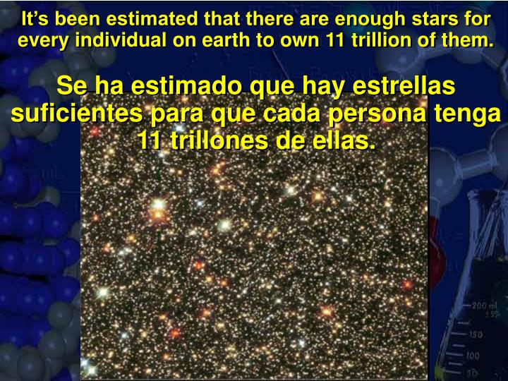 It's been estimated that there are enough stars for every individual on earth to own 11 trillion of them.