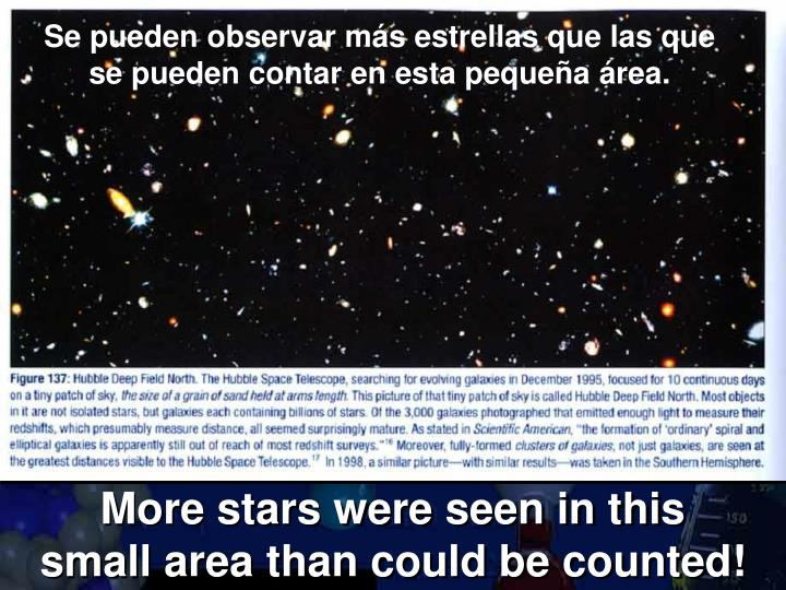 Se pueden observar más estrellas que las que se pueden contar en esta pequeña área.
