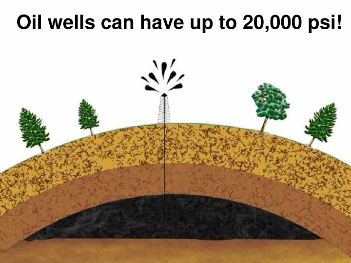 Oil wells can have up to 20,000 psi!