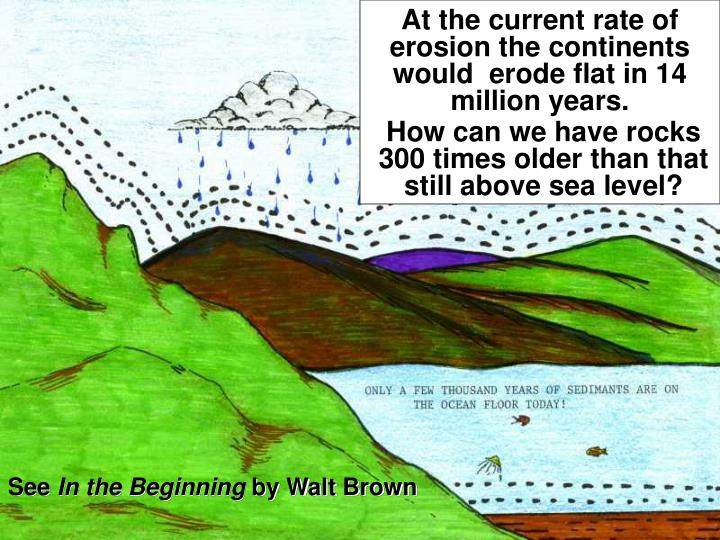 At the current rate of erosion the continents would  erode flat in 14 million years.