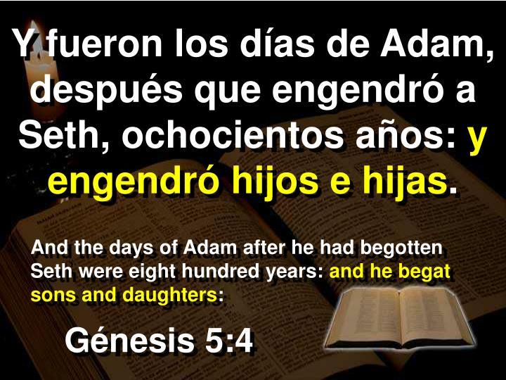 Y fueron los días de Adam, después que engendró a Seth, ochocientos años: