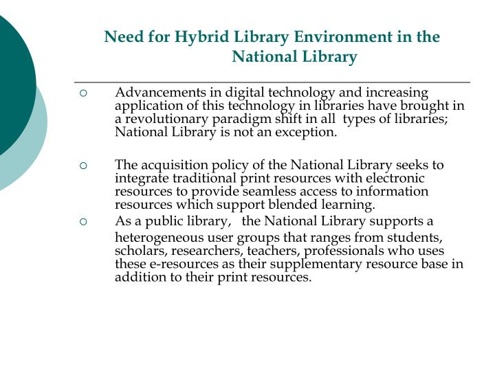 Need for Hybrid Library Environment in the