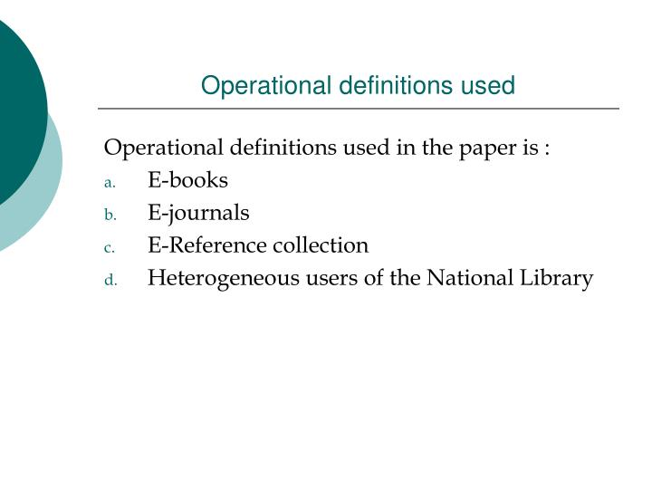 Operational definitions used
