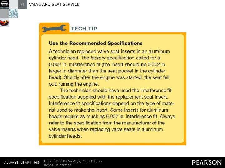 TECH TIP: Use the Recommended Specifications