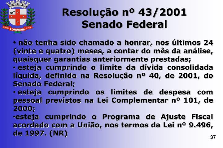 Resolução nº 43/2001