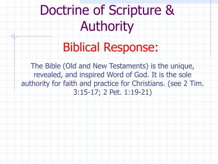 Doctrine of Scripture & Authority