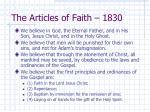 the articles of faith 1830