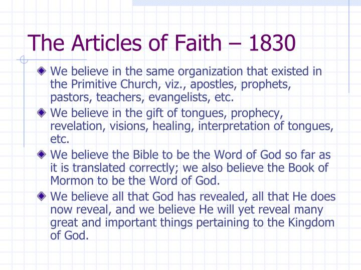 The Articles of Faith – 1830