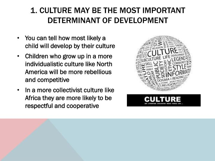 1. Culture may be the most important determinant of development