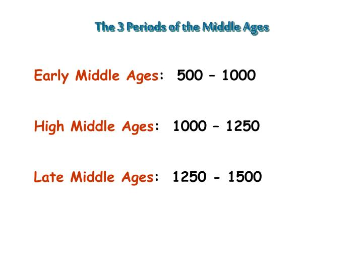 The 3 Periods of the Middle Ages