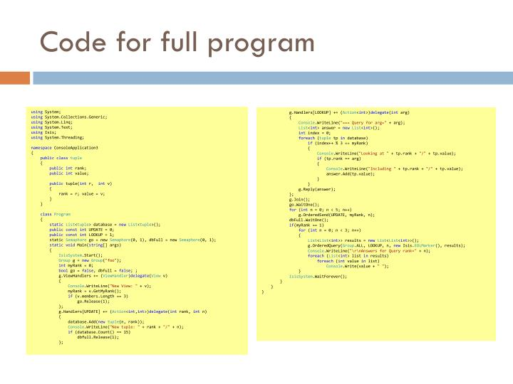 Code for full program