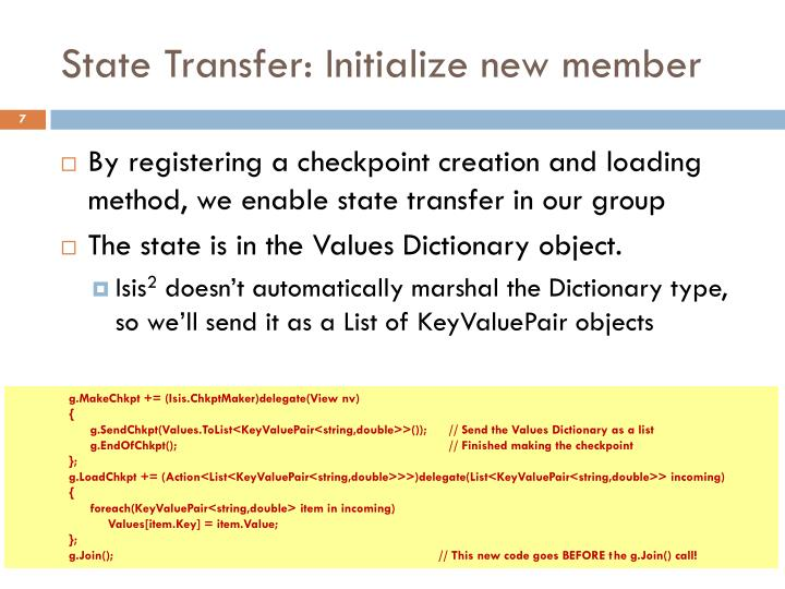 State Transfer: Initialize new member