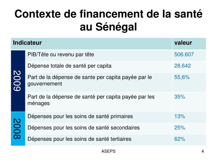 Contexte de financement de la santé au Sénégal