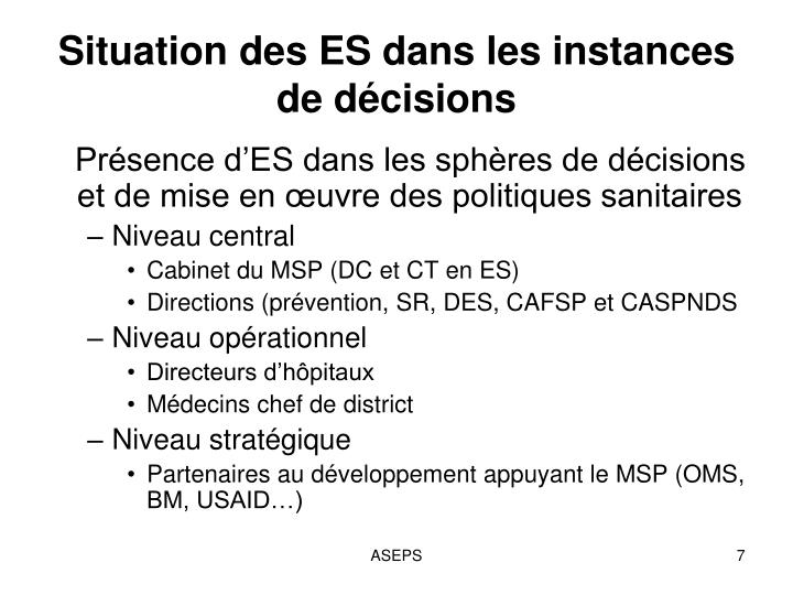 Situation des ES dans les instances de décisions
