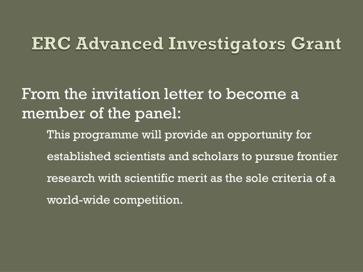 ERC Advanced Investigators Grant