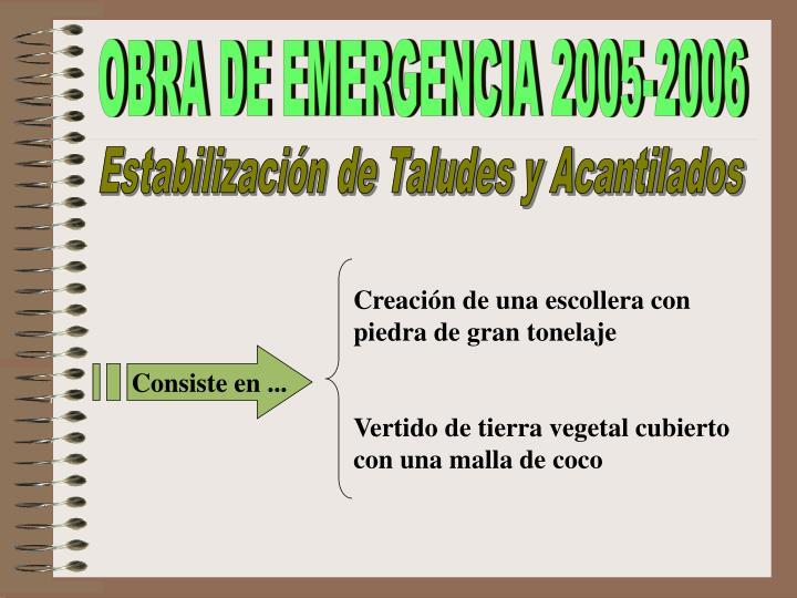 OBRA DE EMERGENCIA 2005-2006