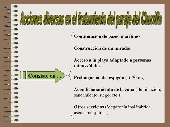 Acciones diversas en el tratamiento del paraje del Chorrillo