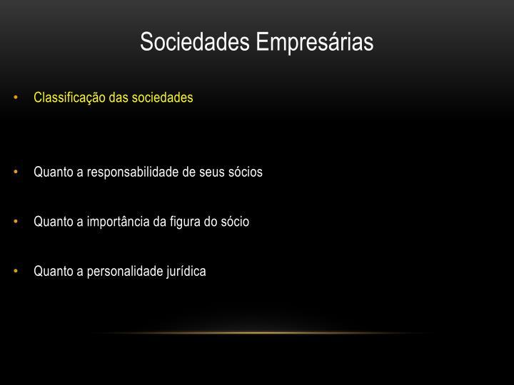 Classificação das sociedades