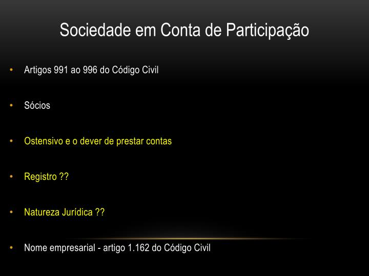 Artigos 991 ao 996 do Código Civil