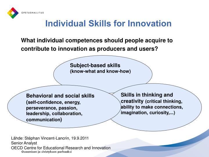 Individual Skills for Innovation