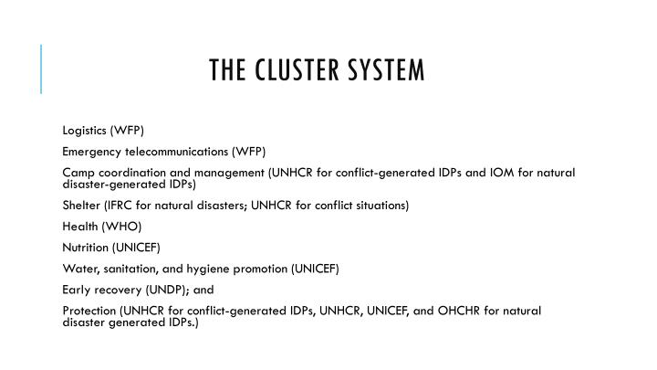 The Cluster System